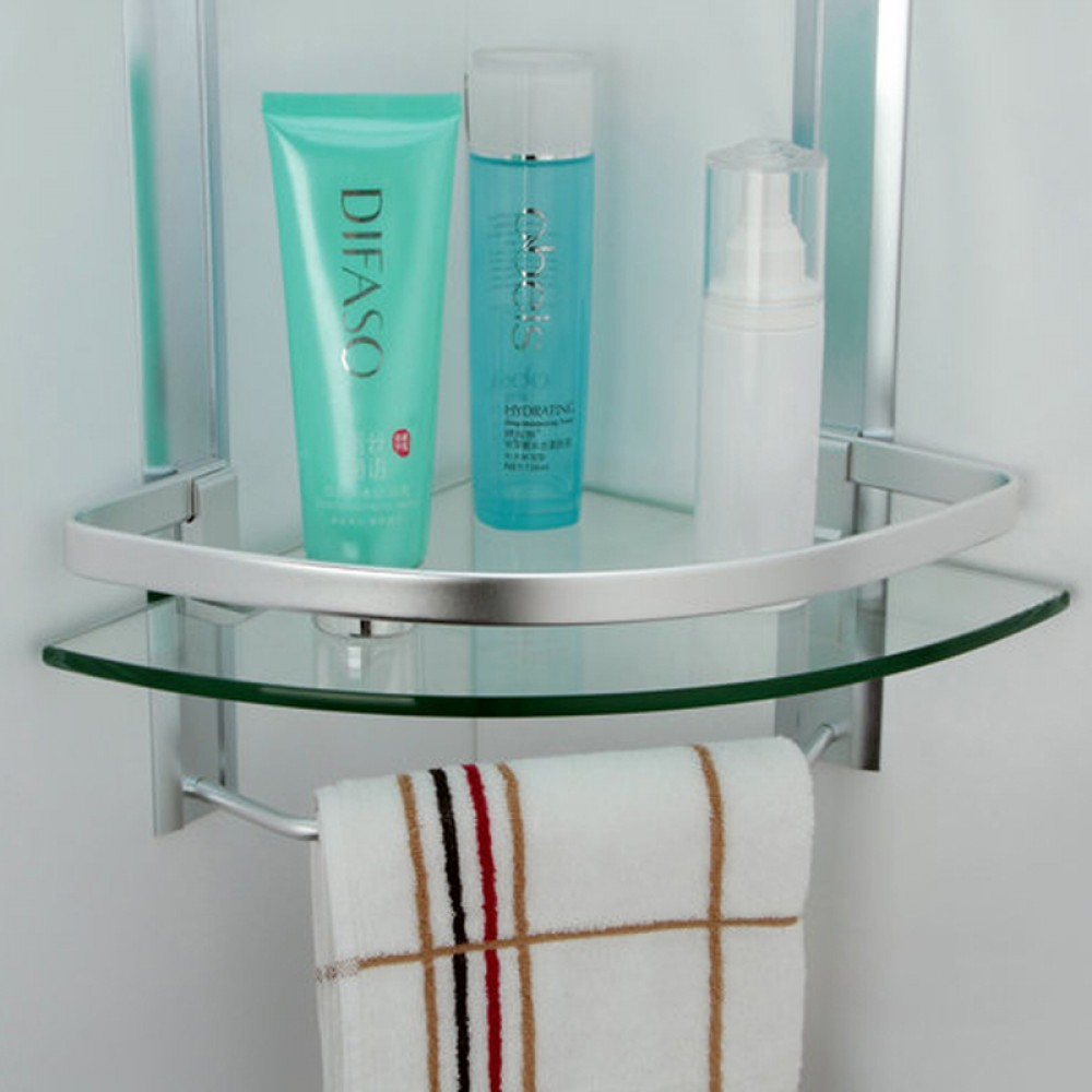Glass shelving bathroom - Kes Bathroom 2 Tier Corner Glass Shelf With Wide Rail And Towel Bar Hanger Aluminum Frame And