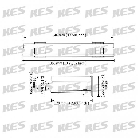 KES Aluminum Bathroom Glass Rectangular Shelf Wall Mounted Tempered Glass Extra Thick, Silver Sand Sprayed/ Matte Black, A4126A/A4126A-BK