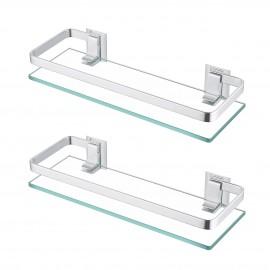 Bathroom Wall Mounted Glass Shelf with 8MM Extra Thick Glass & 2 Pack Retangular 1 Tier Storage Organizer, Sliver A4126A-P2