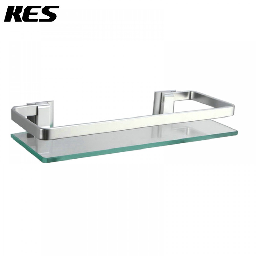 kes bathroom 2 tier glass shelf with rail aluminum and. Black Bedroom Furniture Sets. Home Design Ideas