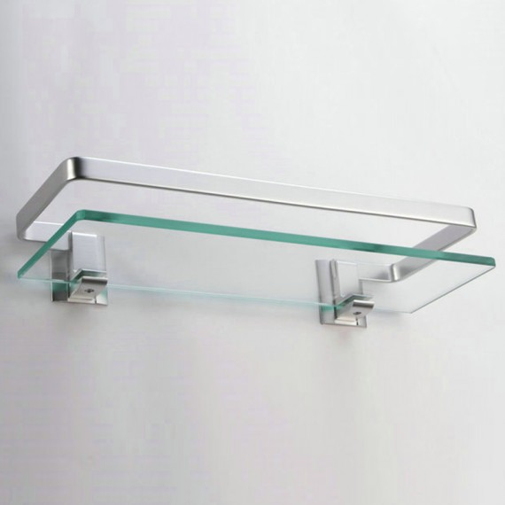 KES Aluminum Bathroom Glass Rectangular Shelf Wall Mounted Tempered Glass Extra Thick, Silver Sand Sprayed, A4126A, 125 PCS