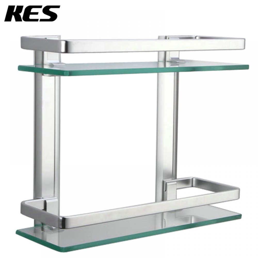 Kes bathroom 2 tier glass shelf with rail aluminum and for Bathroom glass shelves