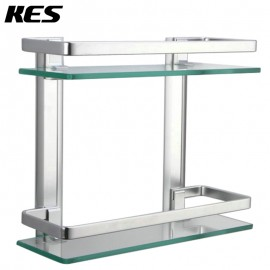 KES Bathroom 2-Tier Glass Shelf with Rail Aluminum and Extra Thick Tempered Glass Shower Shelving Rectangular Contemporary Style Wall Mount, A4126B
