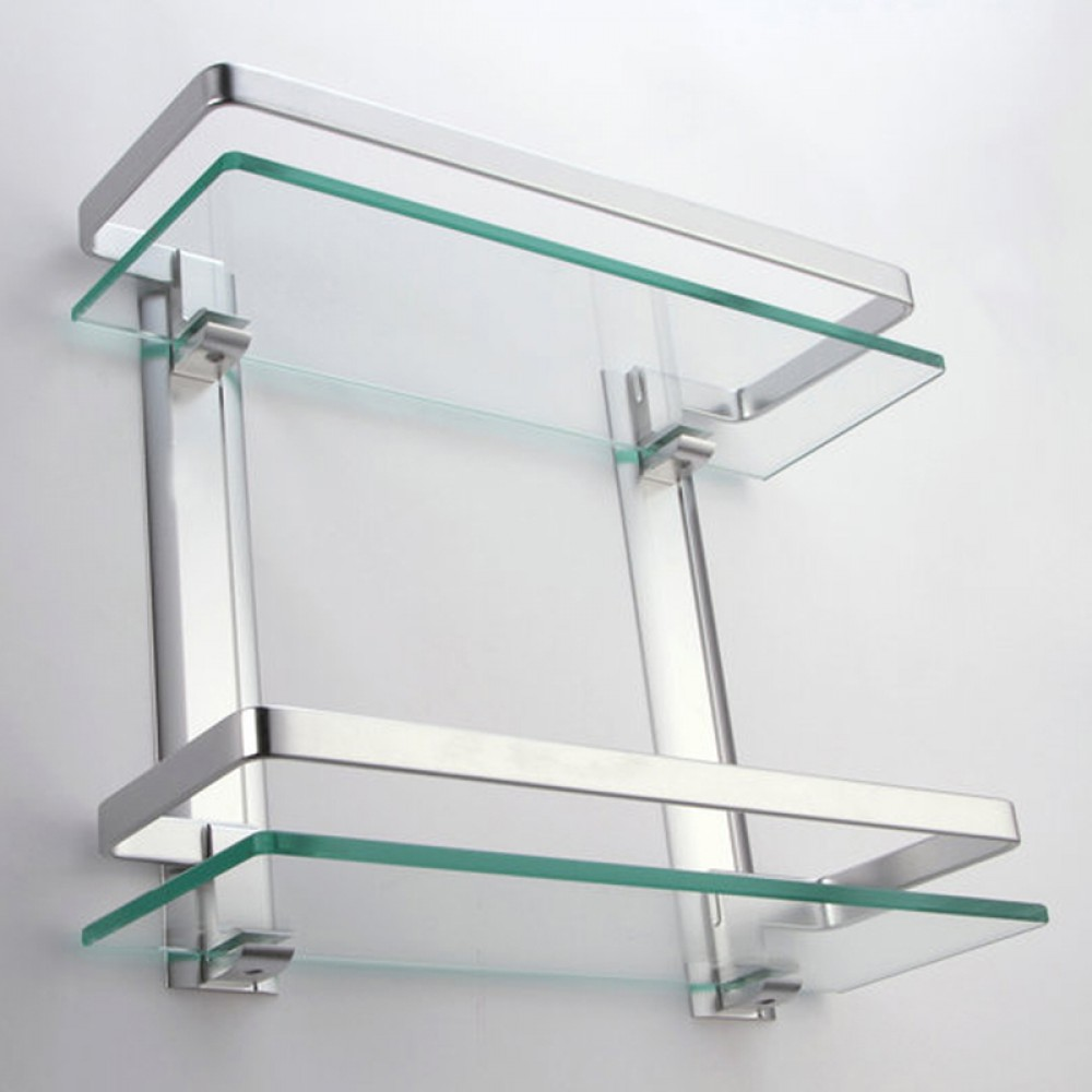 Glass bathroom shelf with rail - Kes Bathroom 2 Tier Glass Shelf With Rail Aluminum And Extra Thick Tempered Glass Shower Shelving Rectangular