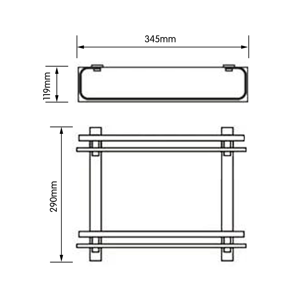 Glass shelf with rail for bathroom - Kes Bathroom 2 Tier Glass Shelf With Rail Aluminum And Extra Thick Tempered Glass Shower Shelving Rectangular