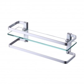Bathroom Glass Shelf with Anodized Aluminum Towel Bar and Rail Extra 8 MM-Thick Tempered Glass Rustproof Retangular Storage Organizer Wall Mount Silver, A4127A