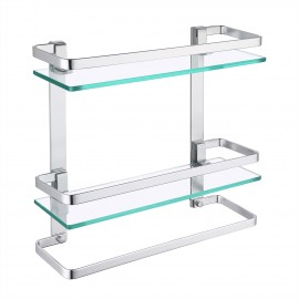 Bathroom Tempered Glass Shelf 2 Tier Storage Glass Shelf Rectangular with Towel Bar Wall Mounted Anodized Aluminum Finish, A4127B