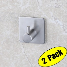 KES 3M Self Adhesive Hooks SUS 304 Stainless Steel Heavy Duty Small Coat Picture Hook Self Sitck On Wall Hook Sticky Brushed Finish 2 Pieces, A7060-2-P2