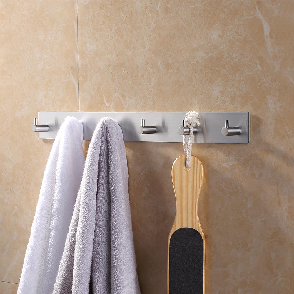 Attractive KES Self Adhesive Hooks Rail STAINLESS STEEL 6 Hook Rack Bath Towel Hook  Sticky Bathroom Kitchen ...