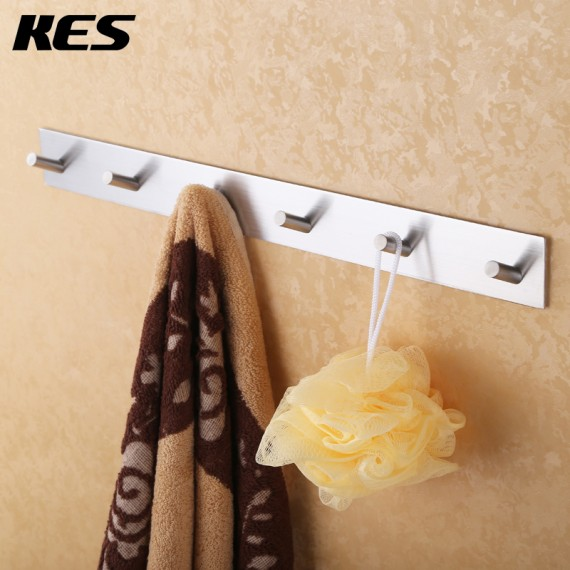 KES Bathroom Self Adhesive Coat and Robe Hook Rack/Rail with 6 Hooks, Brushed SUS304 Stainless Steel, A7063H6