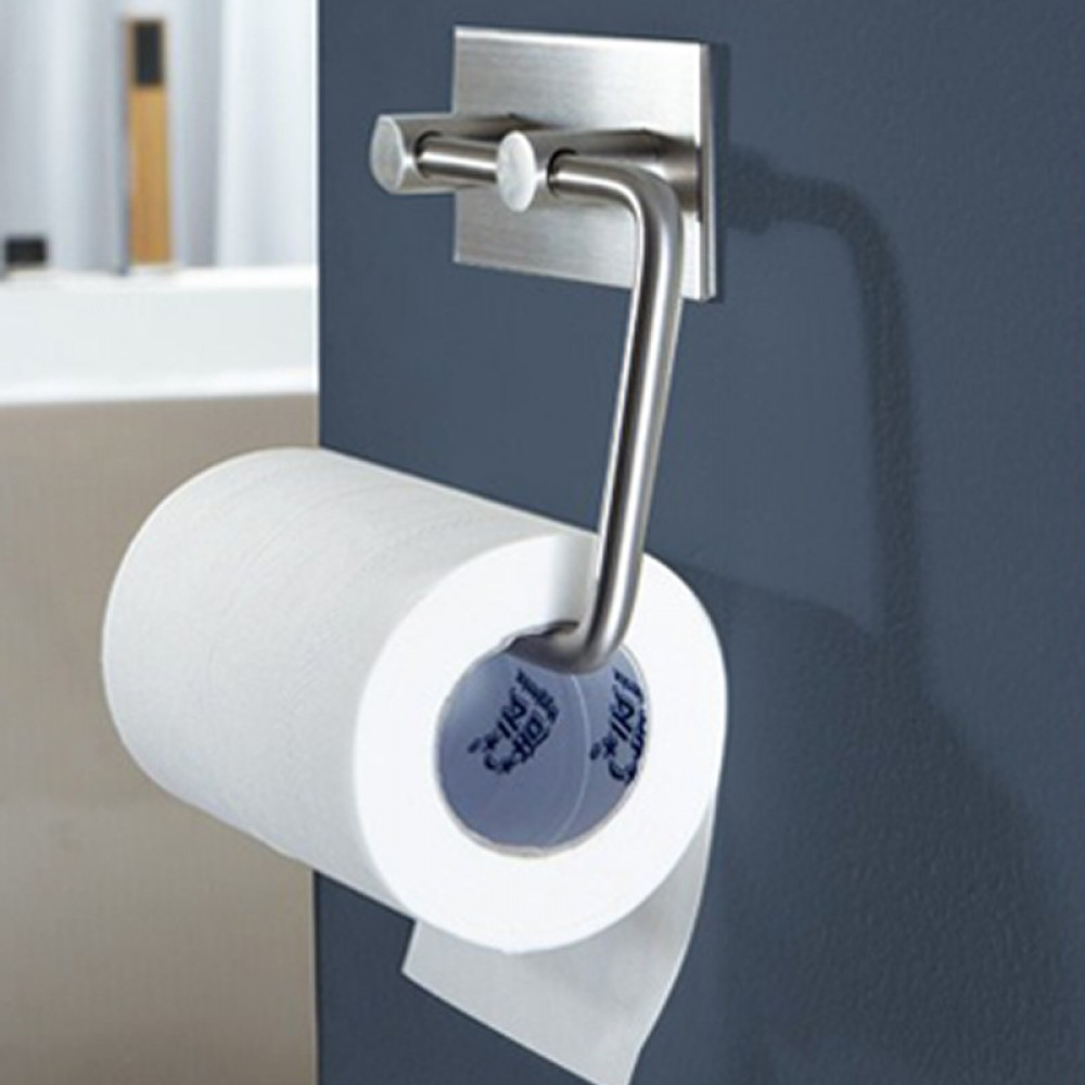 Self Adhesive SUS Stainless Steel Toilet Paper Holder Storage - Kitchen paper towel dispenser