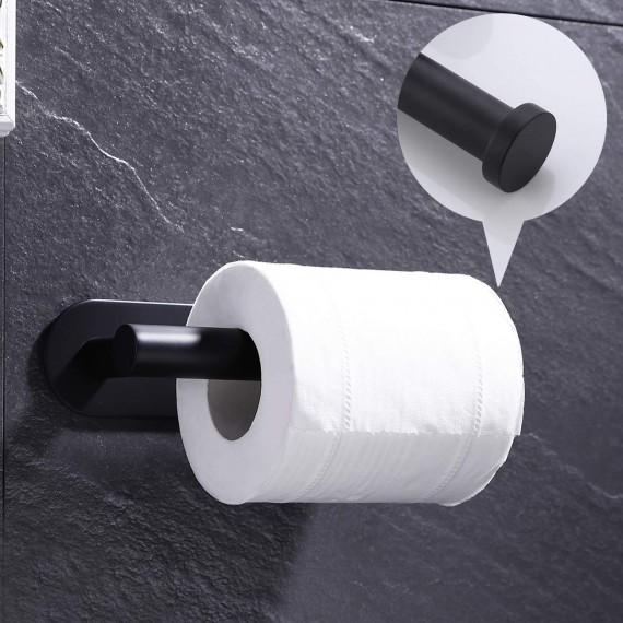 KES Self Adhesive Toilet Paper Towel Holder SUS304 Stainless Steel Bathroom Tissue Roll Holder Rustproof No Drill Wall Mount Matte Black, A7170-BK