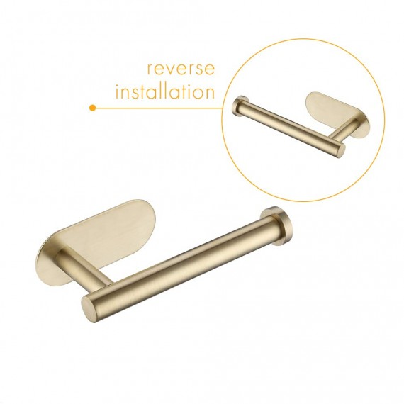 KES Self Adhesive Toilet Paper Holder Bathroom Tissue Roll Holder SUS304 Stainless Steel Rustproof No Drill Wall Mount Brushed Gold, A7170-BZ