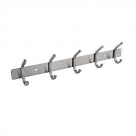 Bathroom Towel Rail Rack with 5 Robe Hooks Wall Mount, Brushed AH203H5-2