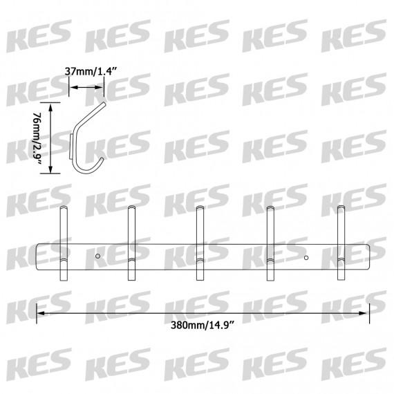 KES Bathroom Towel Rail/Rack with 5 Scroll Hooks Wall Mount SUS304 Stainless Steel, AH203H5-2