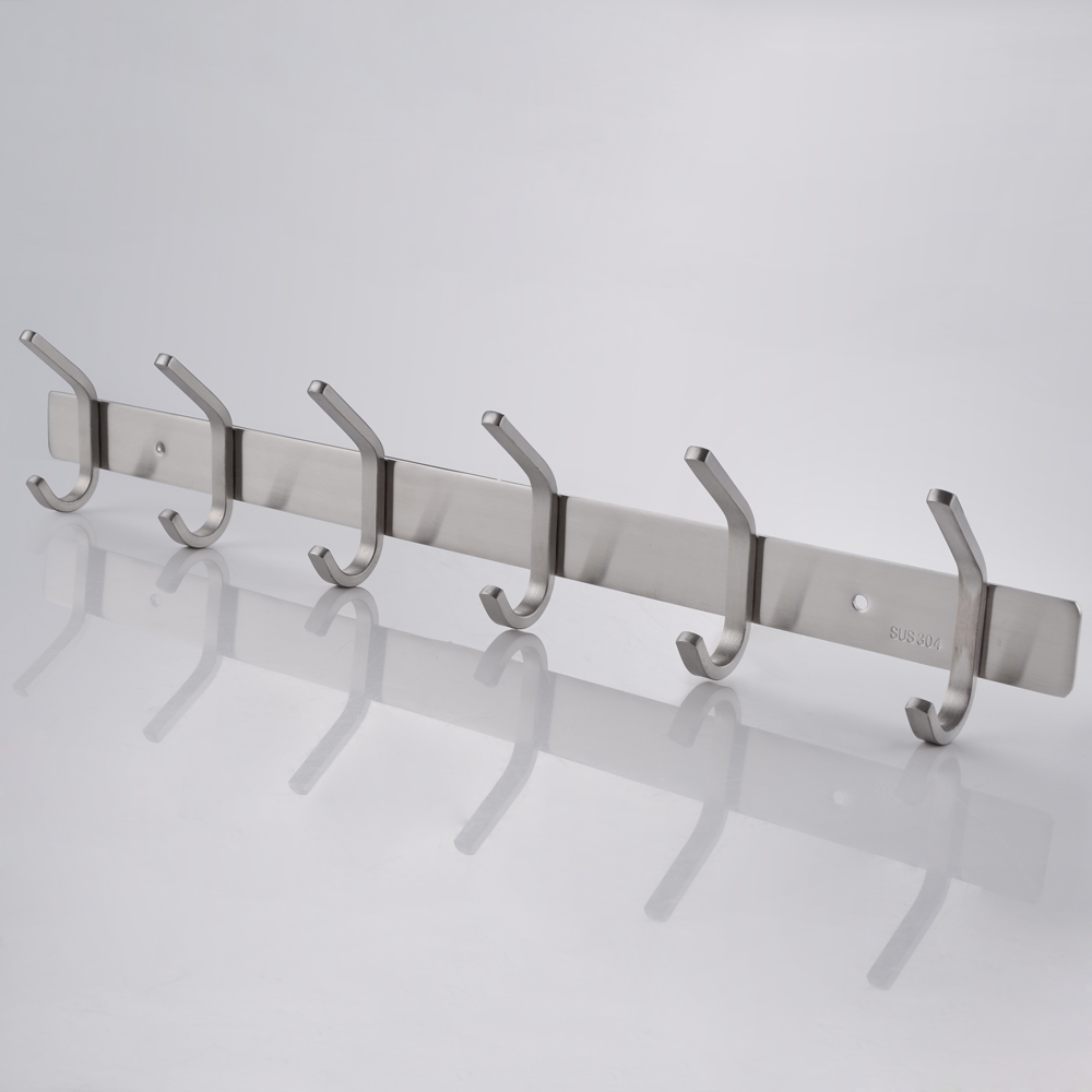 KES SUS 304 Stainless Steel Towel/Coat Hook Rack Rail Shelf With 6 Hooks  Robe Hanger ...