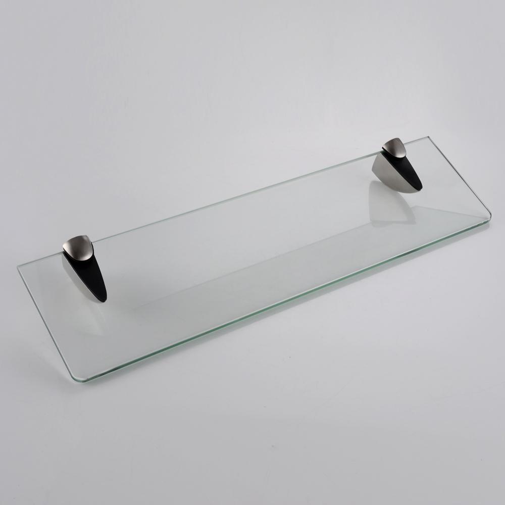 Brushed nickel bathroom shelves - Kes Bgs3200 2 Lavatory Bathroom Corner Tempered Glass Shelf 8mm Thick Wall Mount Rectangular Brushed Nickel