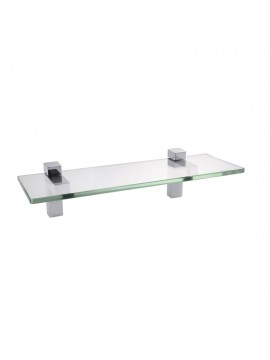 KES 14-Inch Bathroom Tempered Glass Shelf 8MM-Thick Wall Mount Rectangular, Polished Chrome Bracket, BGS3201S35