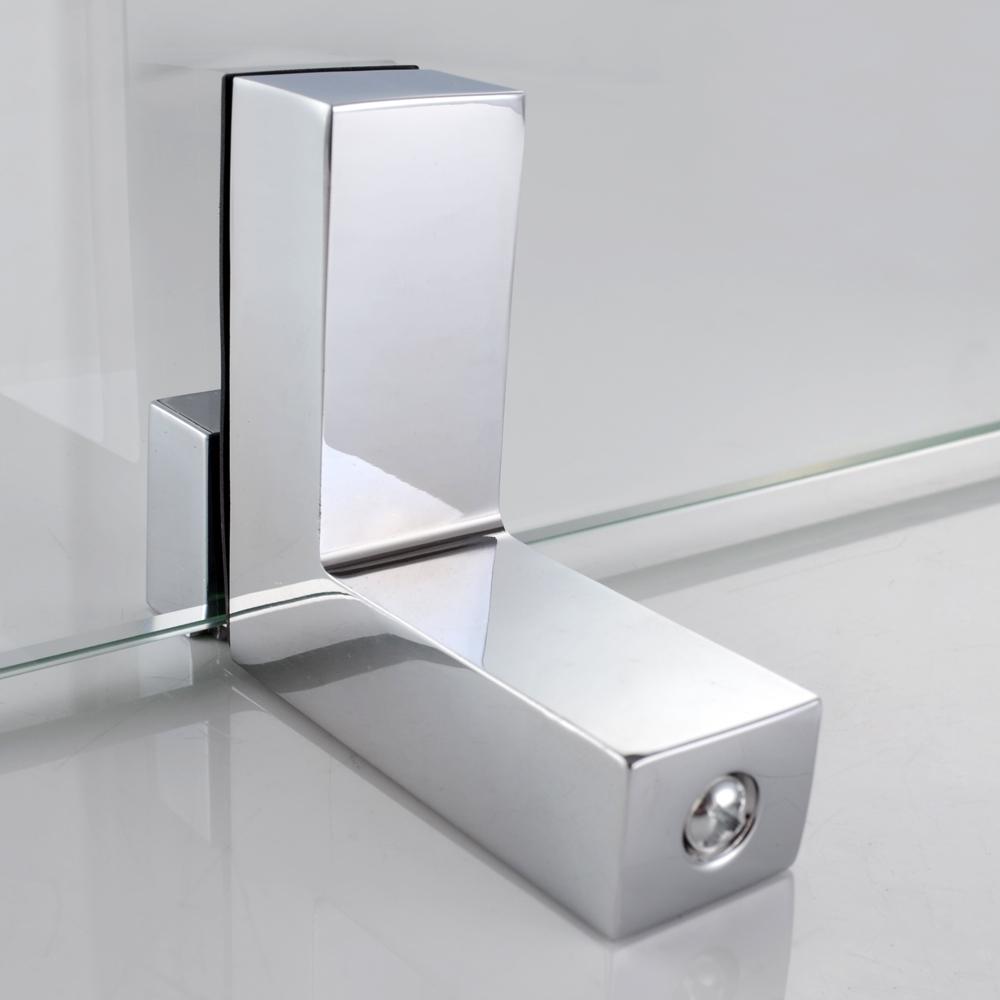 Kes 14 Inch Bathroom Tempered Glass Shelf 8mm Thick Wall Mount Rectangular Polished Chrome