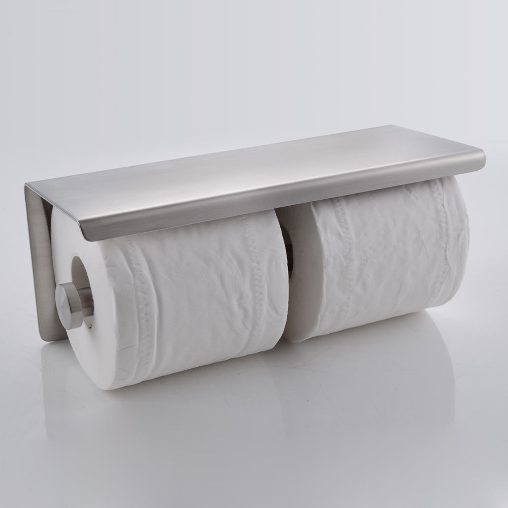 SUS  Stainless Steel Double Roll Toilet Paper Holder Storage -  bathroom paper towel holder
