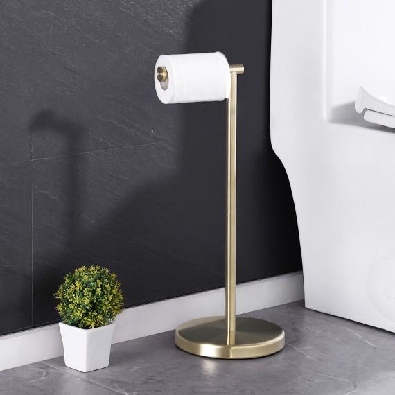 KES Gold Toilet Paper Holder Free Standing SUS 304 Stainless Steel Rustproof Pedestal Lavatory Tissue Roll Holder Floor Stand Modern Brushed Brass Finish, BPH283S1-BZ