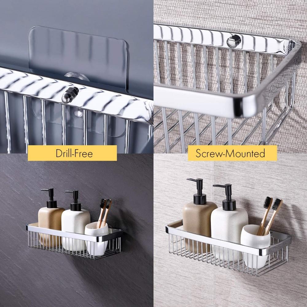 Yeegout No Drill Bathroom Corner Shelves Aluminum Rustproof Adhesive Shower She