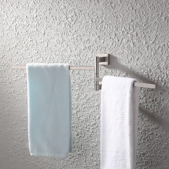 KES Bath Towel Holder Swing Hand Towel Rack SUS 304 Stainless Steel Bathroom Swivel Towel Bar 2-Bar Folding Hanger Holder RUSTPROOF Wall Mount Brushed Finish, BTH203S2-2