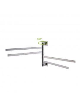 KES Bath Towel Holder Swing Hand Towel Rack SUS 304 Stainless Steel Bathroom Swivel Towel Bar 4-Bar Folding Hanger Holder RUSTPROOF Wall Mount Brushed Finish, BTH203S4-2