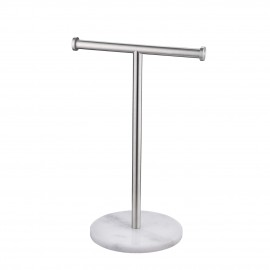 Bathroom Towel Rack with Natural Marble Base T-Shape, Brushed Finish WMTR002S20BS