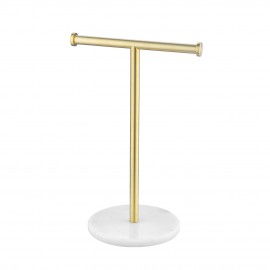 Countertop Towel Rack with Natural Marble Base T-Shape Bathroom Hand Towel Holder Stand SUS304 Stainless Steel Brushed Brass, BTH205S20-BZ