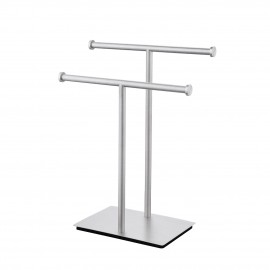 Hand Towel Holder Stand for Bathroom Double-T Towel Rack with Square Base Countertop SUS304 Stainless Steel Brushed Finish, BTH209A-2
