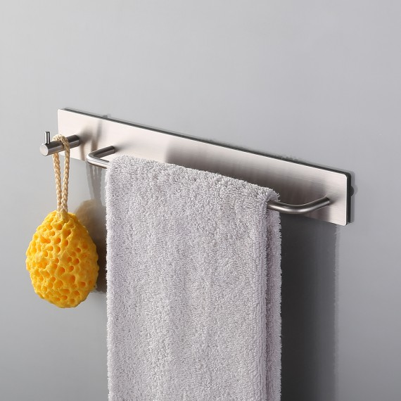 KES Self Adhesive SUS 304 Stainless Steel Towel Bar with Hook Storage Bathroom Kitchen Hand Hanger Stick On Sticky Contemporary Style, Brushed Finish, BTH7200-2
