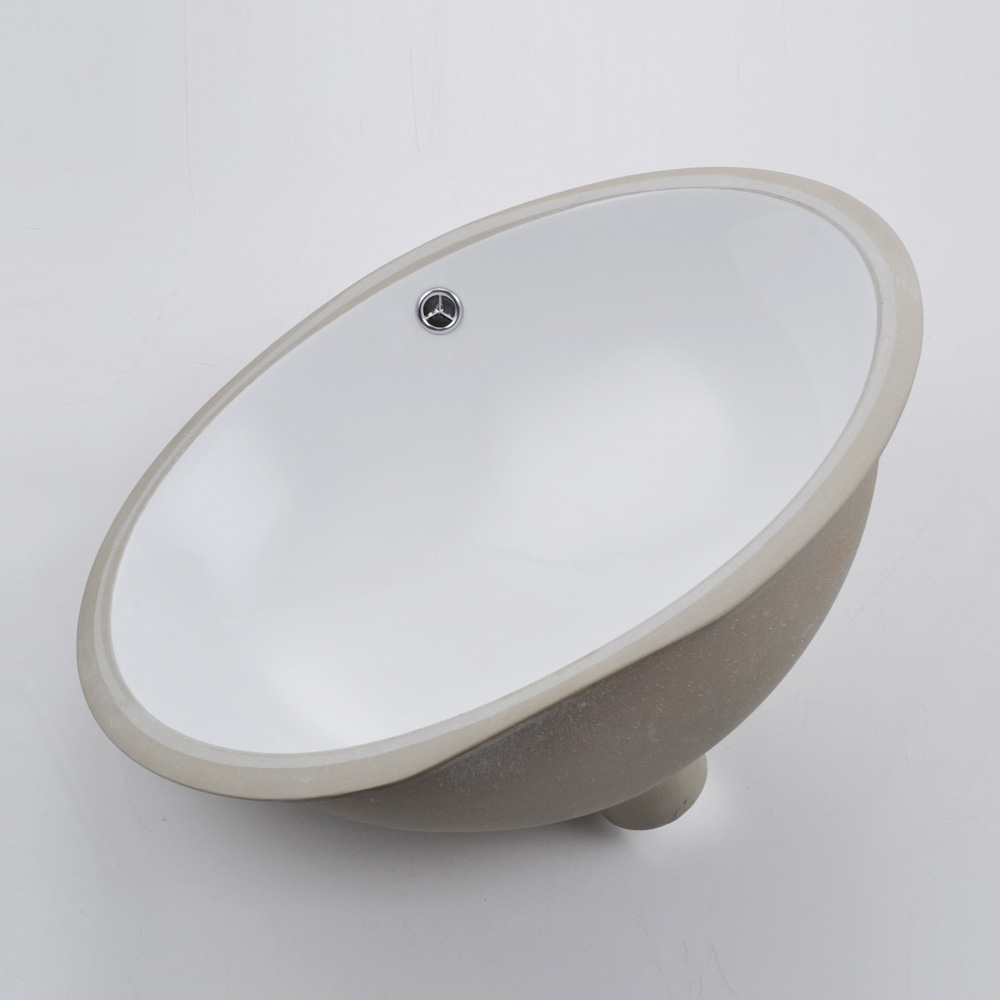 KES Bathroom Rectangular Porcelain Undermount Sink White Undercounter Sink  For Lavatory Vanity Cabinet Contemporary Style With ...