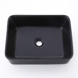 "Bathroom 19"" Rectangular Porcelain Vessel Sink Above Counter Matte Black Countertop Bowl Sink for Lavatory Vanity Cabinet Contemporary Style, BVS110-BK"