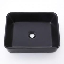 "Bathroom 19"" Rectangular Porcelain Vessel Sink Above Counter Matte Black Countertop Bowl Sink for Lavatory Vanity Cabinet Contemporary Style, BVS110-BK"