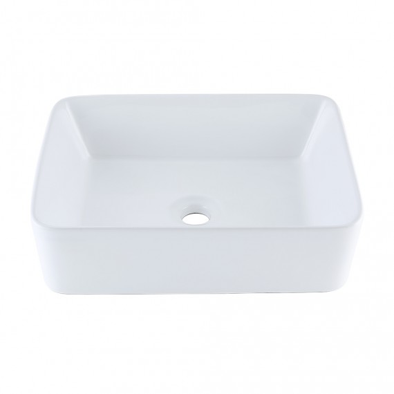 KES Bathroom Rectangular Porcelain Vessel Sink Above Counter White Countertop Bowl Sink for Lavatory Vanity Cabinet Contemporary Style, BVS110