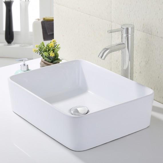 Bathroom 19-Inches Vessel Sink Countertop with Porcelain Ceramic Bowl, White Ceramic BVS110