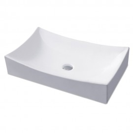 "KES Bathroom Sink, Vessel Sink Porcelain 25"" Rectangular Above Counter White Countertop Bowl Sink for Lavatory Vanity Cabinet Contemporary Style, BVS112"