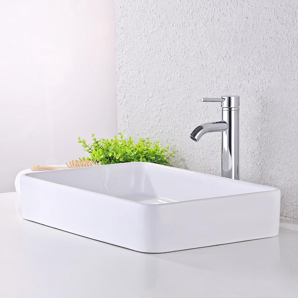 Kes bathroom sink vessel sink 24 inch porcelain - Rectangular vessel bathroom sinks ...