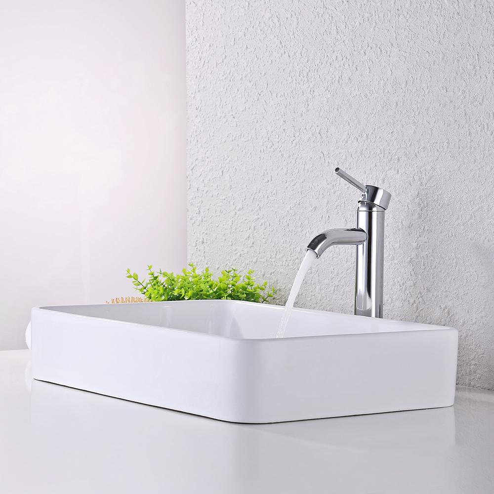 KES Bathroom Sink, Vessel Sink 24 Inch Porcelain Rectangular White Above  Counter For Lavatory Vanity Cabinet ...