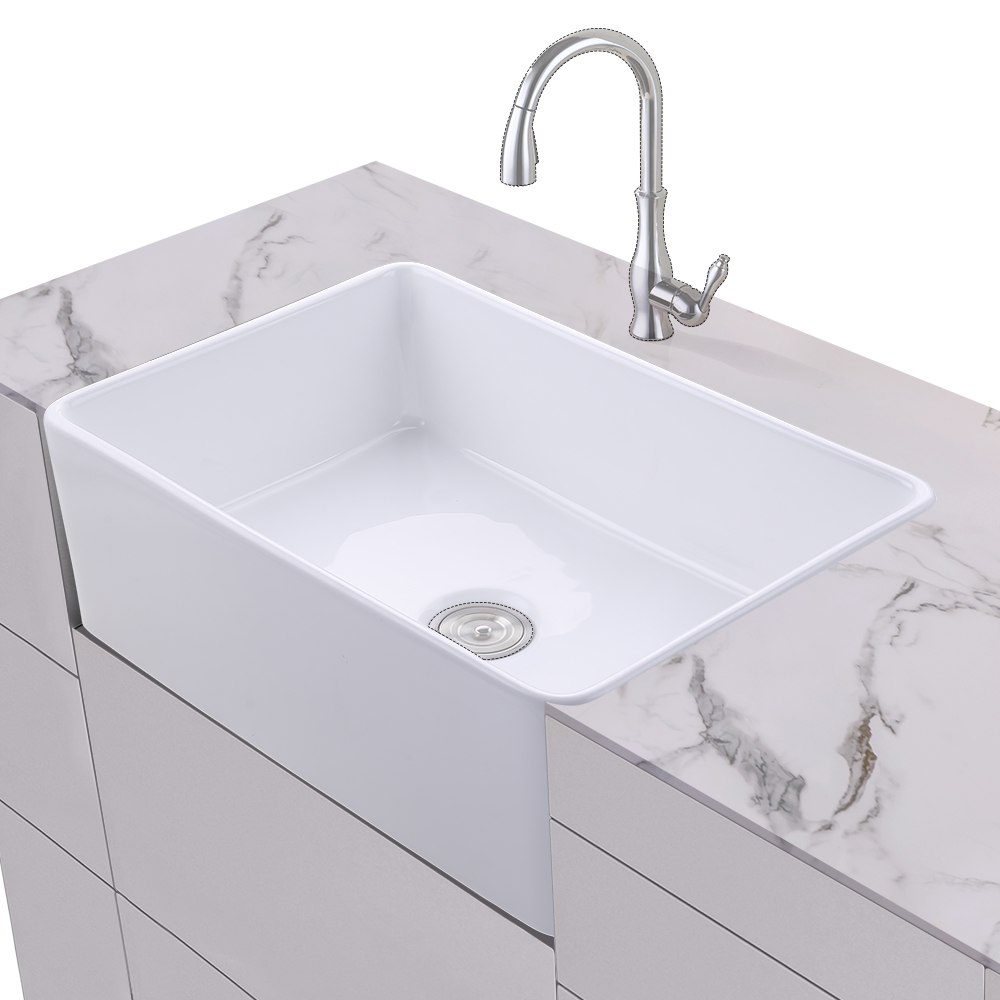 KES Fireclay Sink Farmhouse Kitchen Sink (30 Inch Porcelain ...