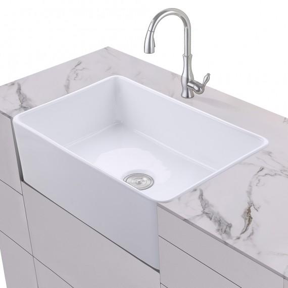 KES Fireclay Sink Farmhouse Kitchen Sink (30 Inch Porcelain Undermount Rectangular White) BVS117