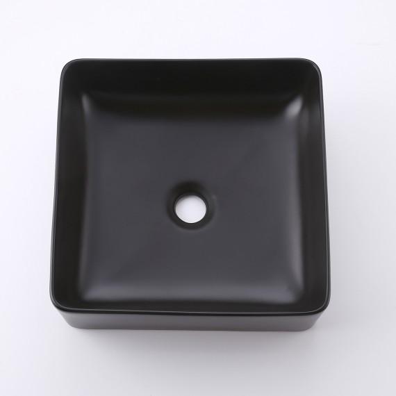 Bathroom Vessel Sink 14 Inch Above Counter Square Matte Black Ceramic Countertop Sink for Cabinet Lavatory Vanity, BVS122-BK