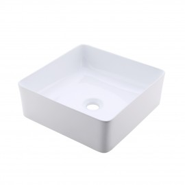 Bathroom Vessel Sink 14 Inch Above Counter Square White Ceramic Countertop Sink for Cabinet Lavatory Vanity, BVS122
