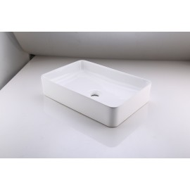 Bathroom Vessel Sink 20 Inch Above Counter Rectangular White Ceramic Countertop Sink for Cabinet Lavatory Vanity, BVS123S50
