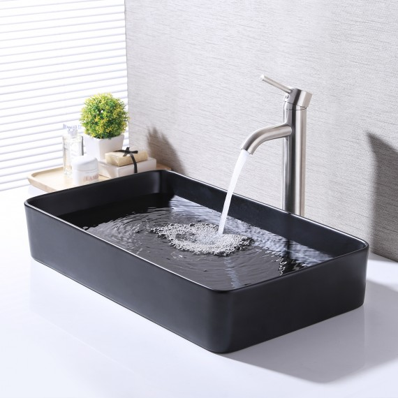 Bathroom Vessel Sink 24 Inch Above Counter Rectangular Matte Black Countertop Sink for Cabinet Lavatory Vanity, BVS123S60-BK