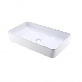 Bathroom Vessel Sink 24 Inch Above Counter Rectangular White Ceramic Countertop Sink for Cabinet Lavatory Vanity, BVS123S60
