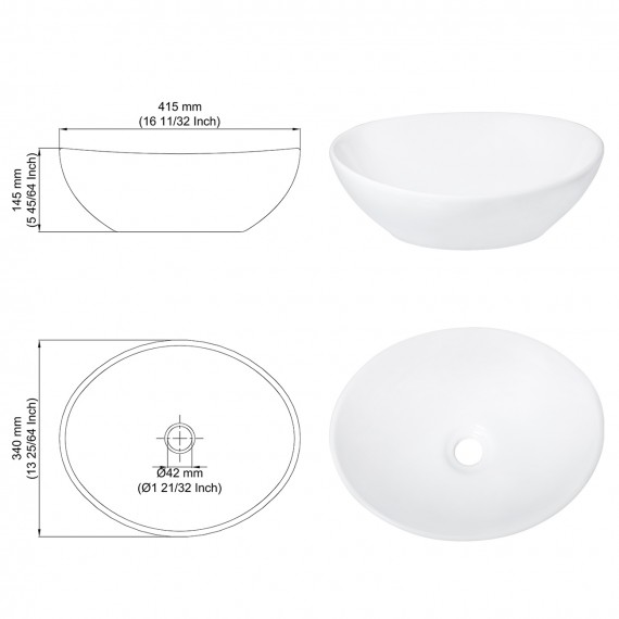 "Bathroom 16"" x 13"" Ceramic Vessel Sink with Modern Egg Shape, White BVS124"
