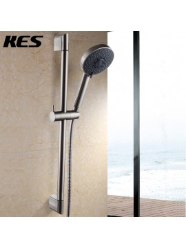 KES Five Function Massaging Hand Shower Head with Adjustable Slide Bar,Brushed Nickel,F200-2+KP501B-2