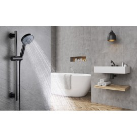 KES Matte Black Shower Head with Slide Bar Combo 5-Function Handheld Shower Kit Shower Hose Adjustable Holder Set, F204-BK+KP501B-BK…
